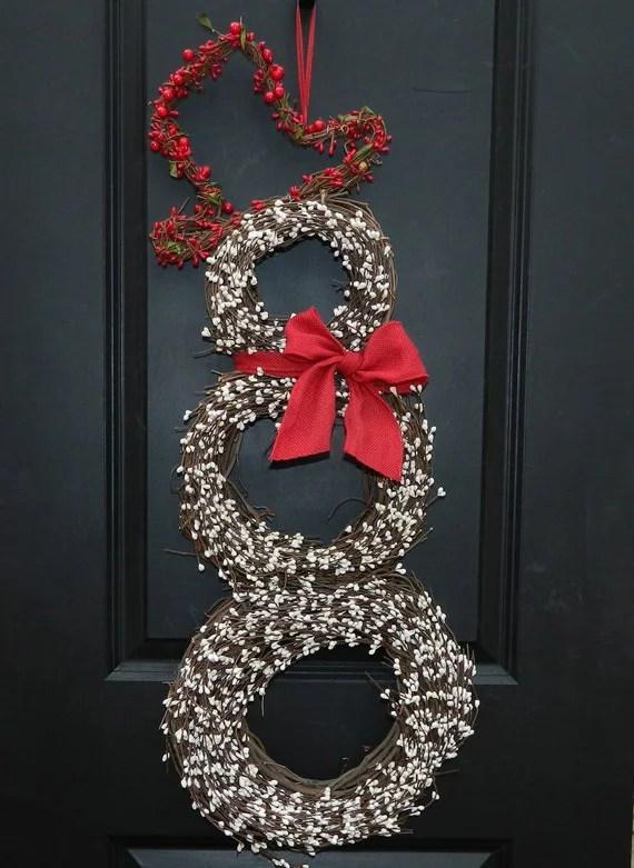 Christmas Wreath - Snowman Wreath - Holiday Wreath - EverBloomingOriginal