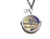 Pirate Ship Necklace antiqued-finish silver toned glass pendant - star shaped crystal 2 ship photographs - BokehEverAfter