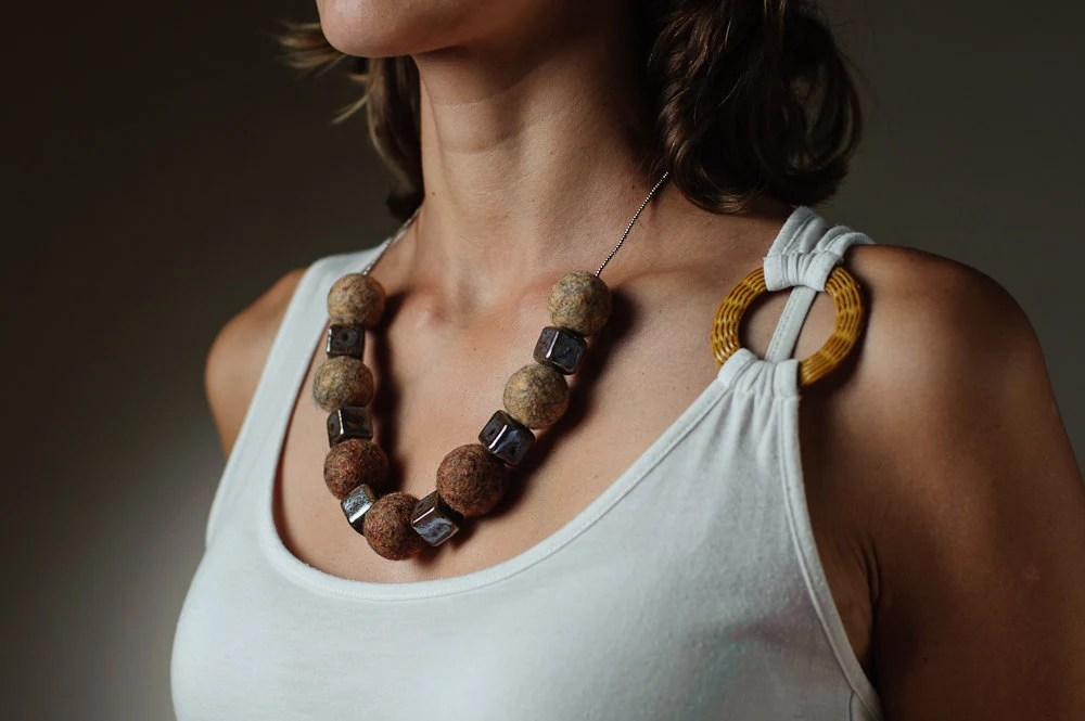 Felt Necklace Chunky Beaded Brown Necklace / Statement Necklace Autumn Jewelry - DevikaFelt