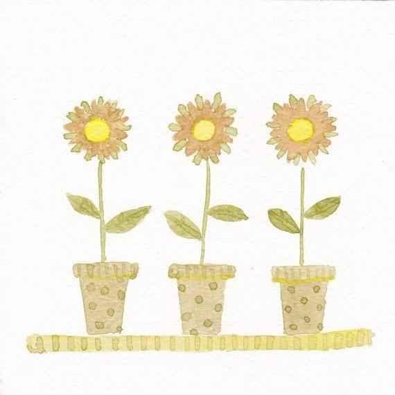 aguarela da flor original - girassol sala de crianças decoração 6x6,
