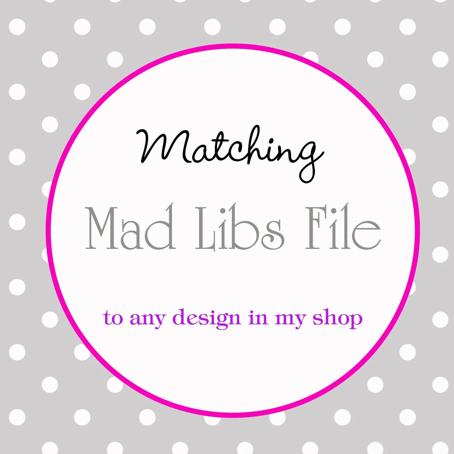 Baby Mad Libs To Match Any Designdigital Printable By Paperclever