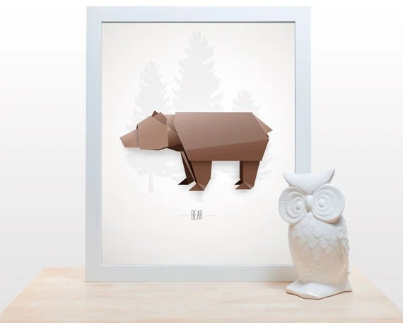 Origami Bear Print - 11x14 modern decor wall poster art paper folding japanese woodland forest creature wild things brown - noodlehug