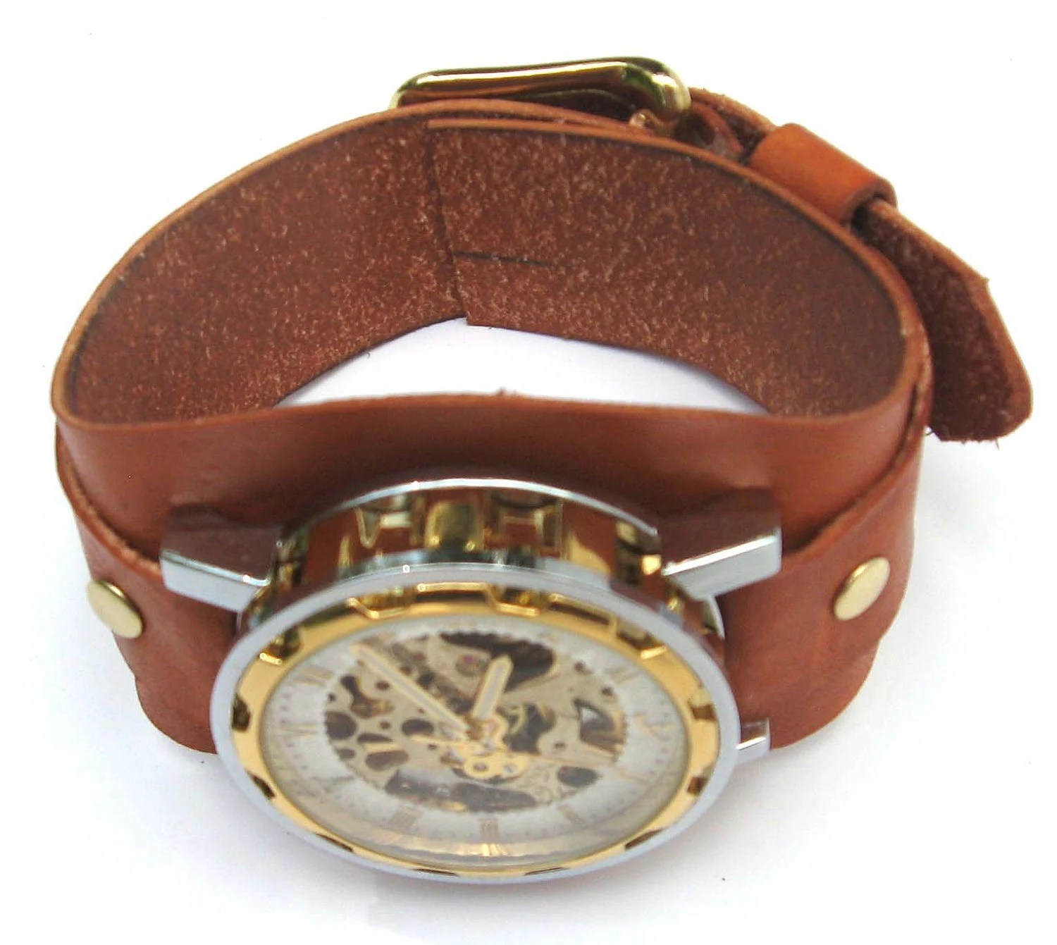 Brown Layered Leather Wave Style Watch Cuff - FoxAndDragon