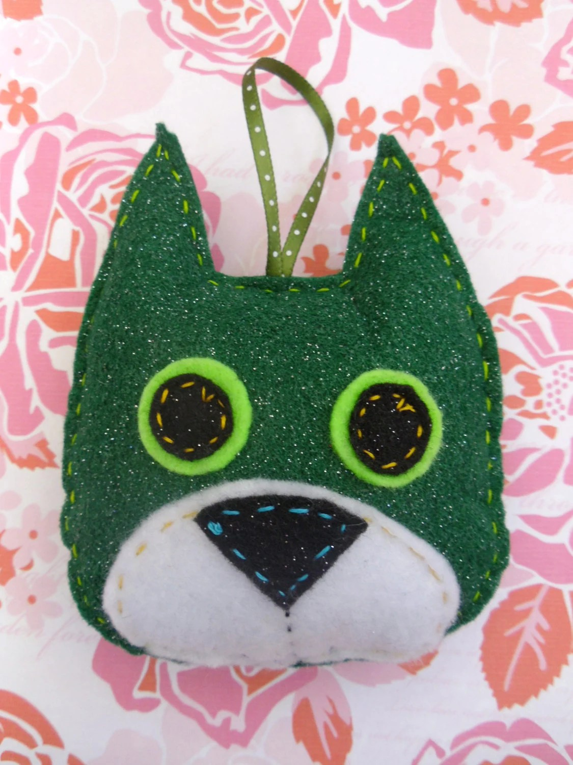 Green Dog Ornament, Alex