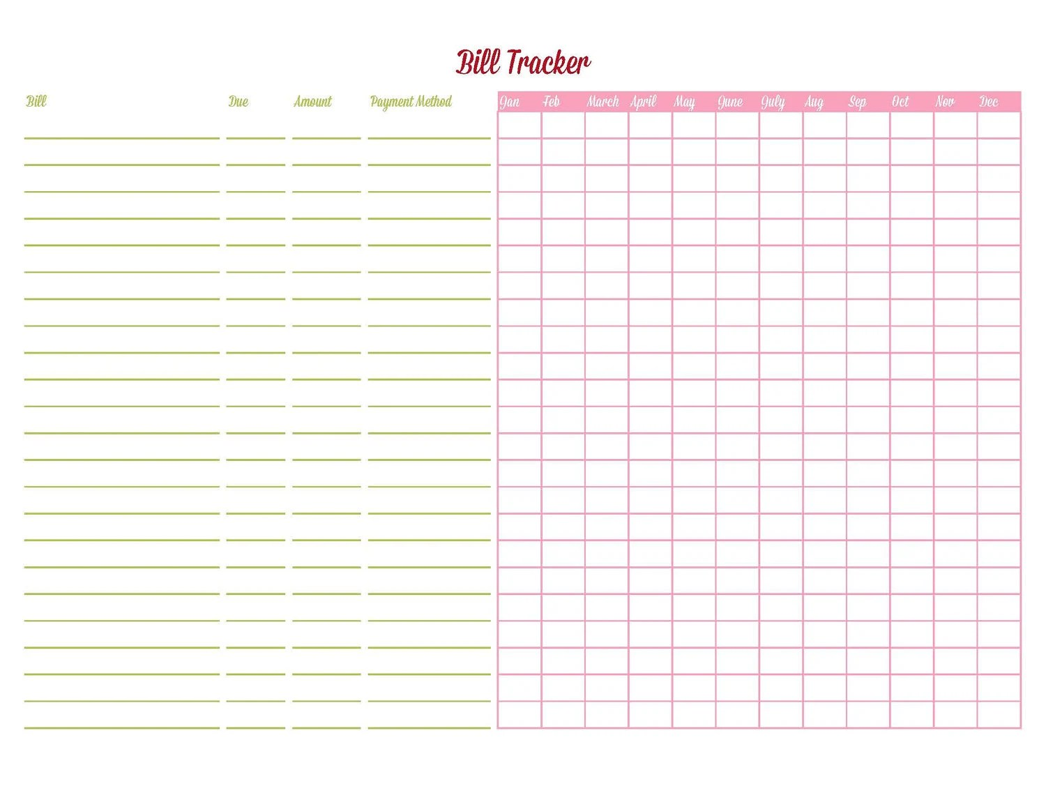 Bill Tracker Editable Printable Instant By Iheartplanners