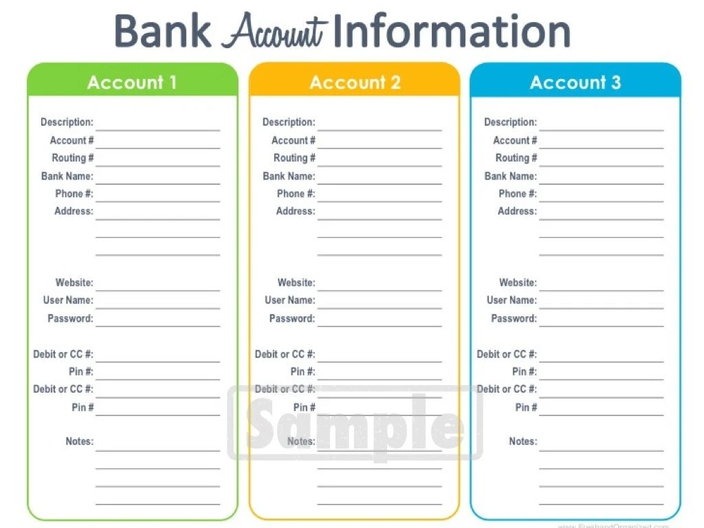 Bank Account Information Printable Editable By