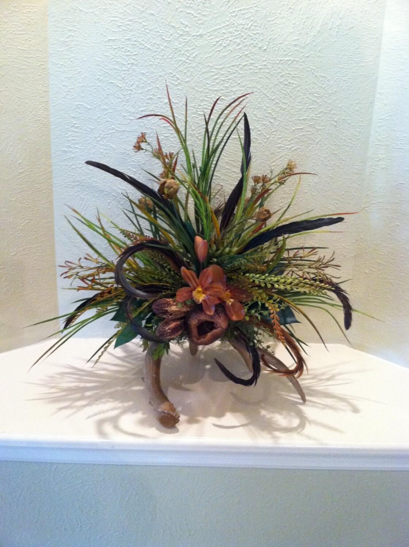Deer Antler Floral Arrangement Stylish Rustic Design