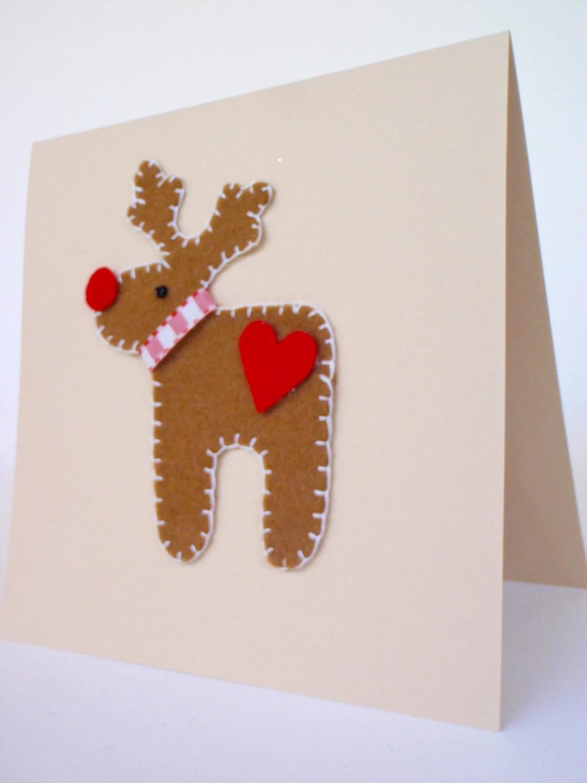 Items Similar To Christmas Card With Felt Rudolf