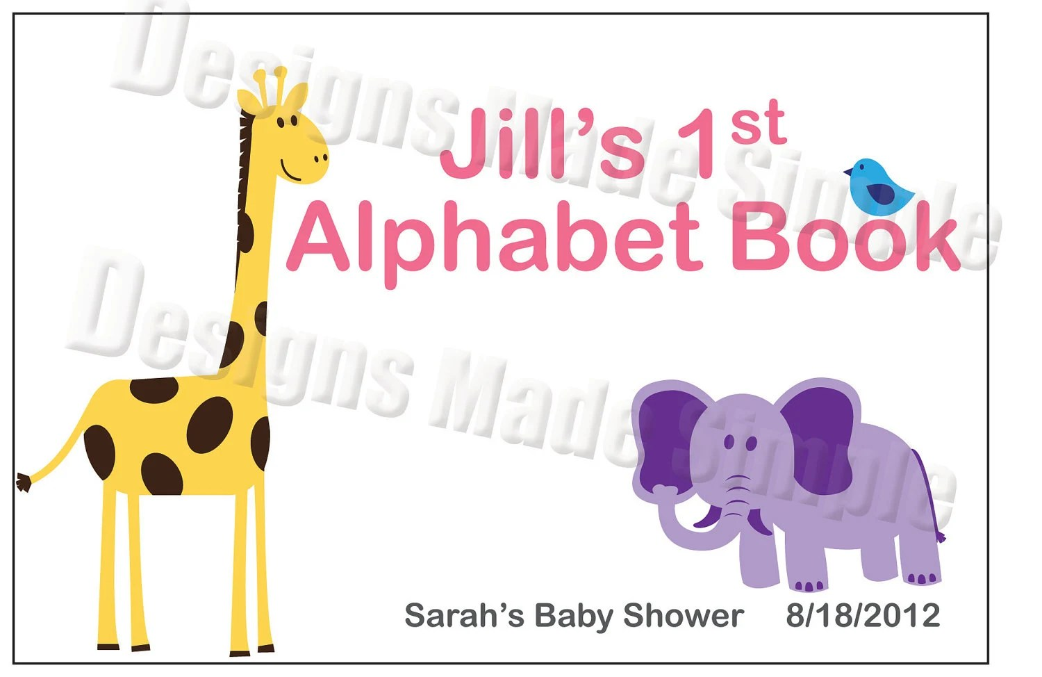 Baby S First Alphabet Book Baby Shower Activity Animal