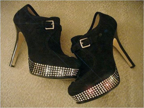 Brooklyn - Swarovski crystal-studded black suede booties - Strutworthy