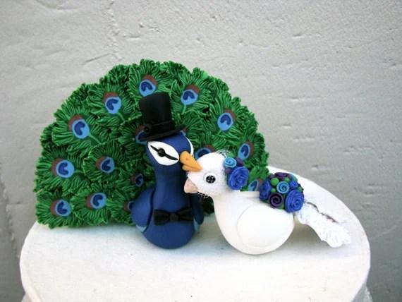 Peacock Love Keepsake Wedding Cake Topper