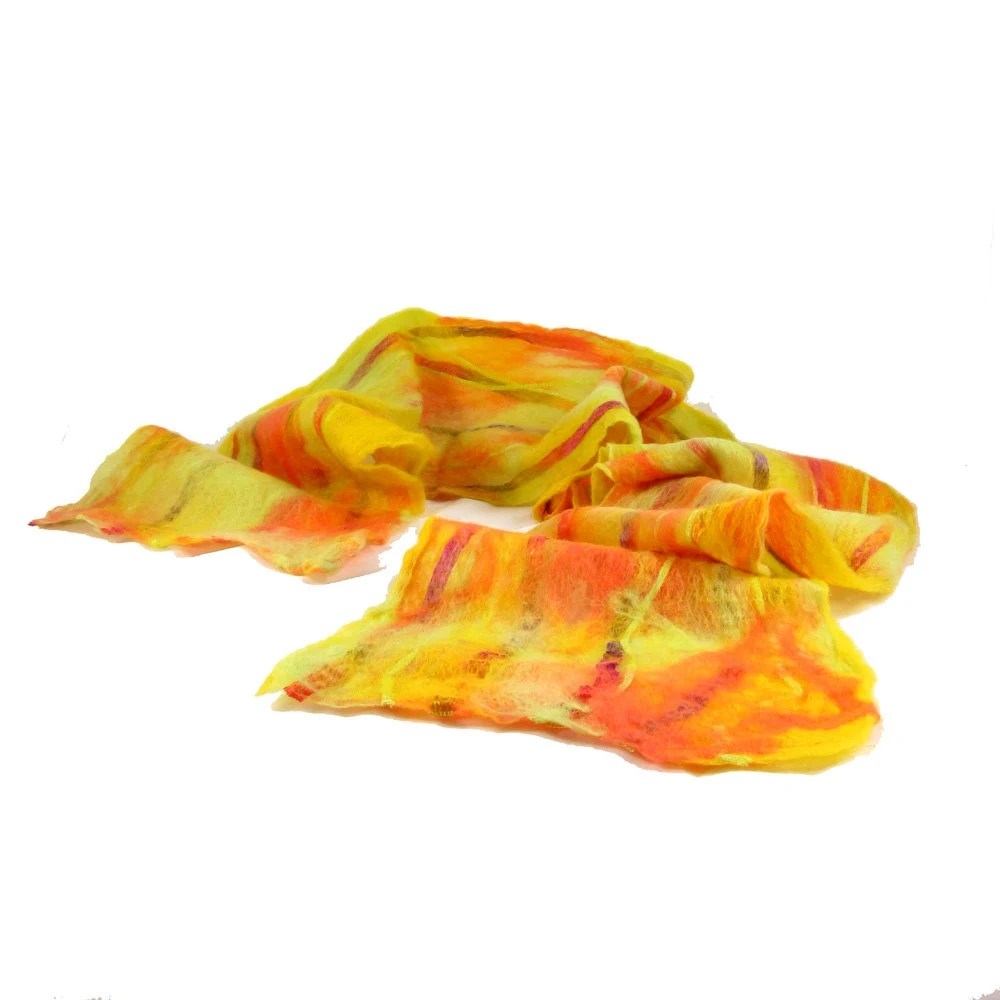Cobweb Felt Scarf Wool Scarf Winter Scarf Womens Scarf Neon Scarf in Orange Chartreuse Green and Yellow with Embedded Ribbon Under 50 OOAK - Fibernique