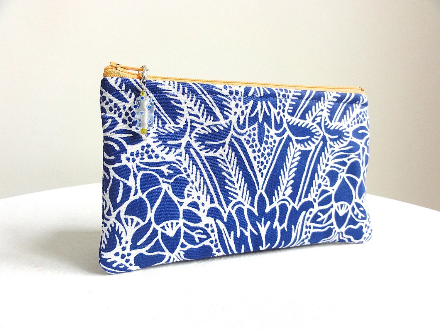 Cobalt Blue and White Clutch / Zippered Bag / with Beaded Pull - KellysKeepsakes
