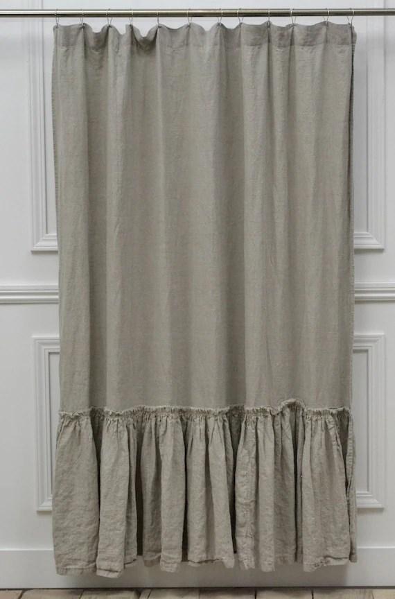 Vintage Ruffle Shower Curtain 72w X 76l