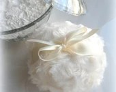 CREAM POWDER PUFF - winter white - ivory bath pouf - creme blanc - gift boxed
