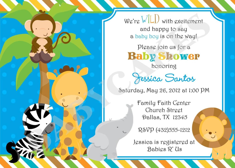 Safari Jungle Animals Baby Shower Invitation Diy By Jcbabycakes