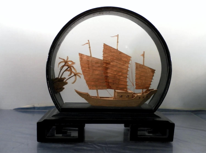 Vintage Asian Carved Cork Art Ship Black Lacquer Standing