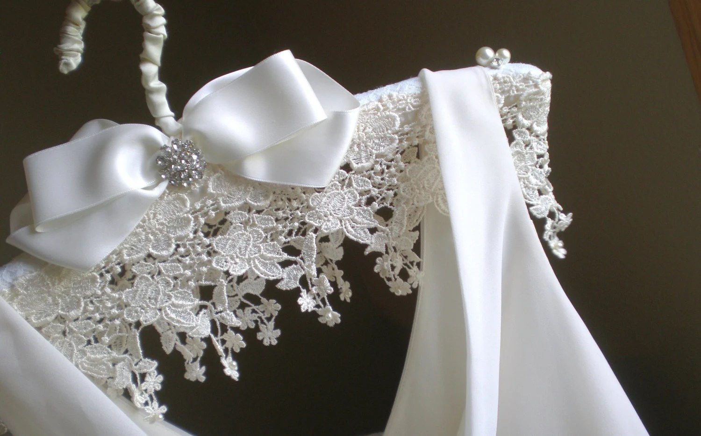 Padded Wedding Dress Hanger ... Jeweled Lace And Satin