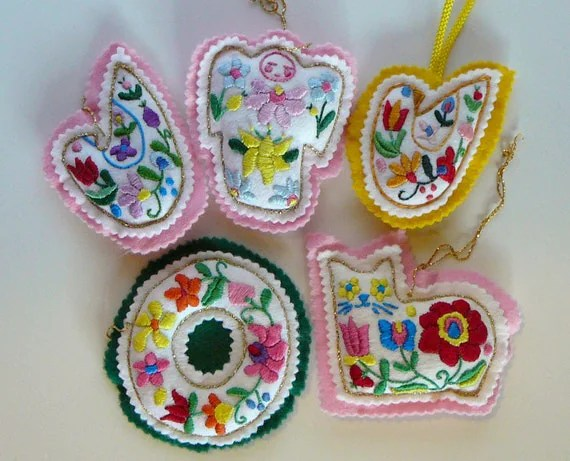 5 Vintage Handmade Hand Embroidered Stuffed Felt By