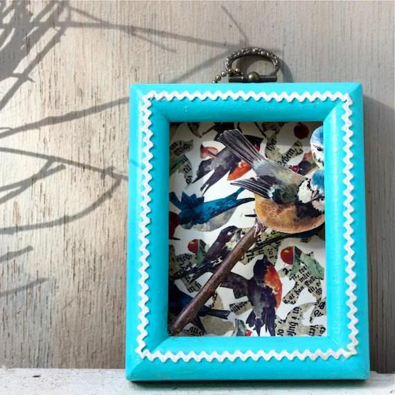 Original bird collage with vintage frame, rick-rack, with bird cutout on a branch, Scandinavian