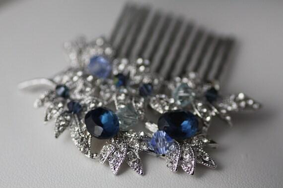 Items Similar To Ocean Branch Swarovski Clear Navy Blue