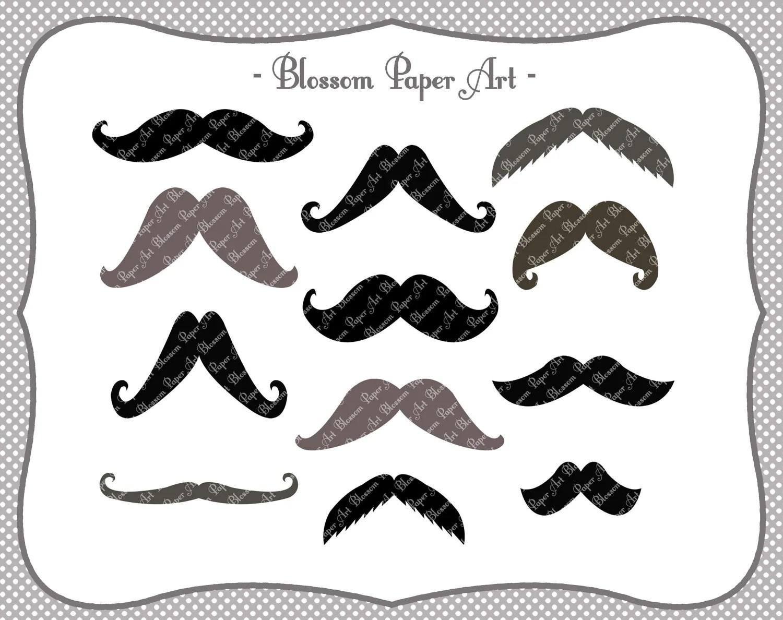 Moustaches Digital Clipart Printable Party Diy Photo