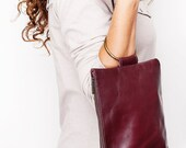 Purple Leather Clutch , Leather bag,  Wristlet clutch - maykobags