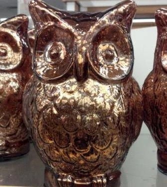 BROWN MERCURY GLASS Owl Figurine Vintage Inspired Antiqued