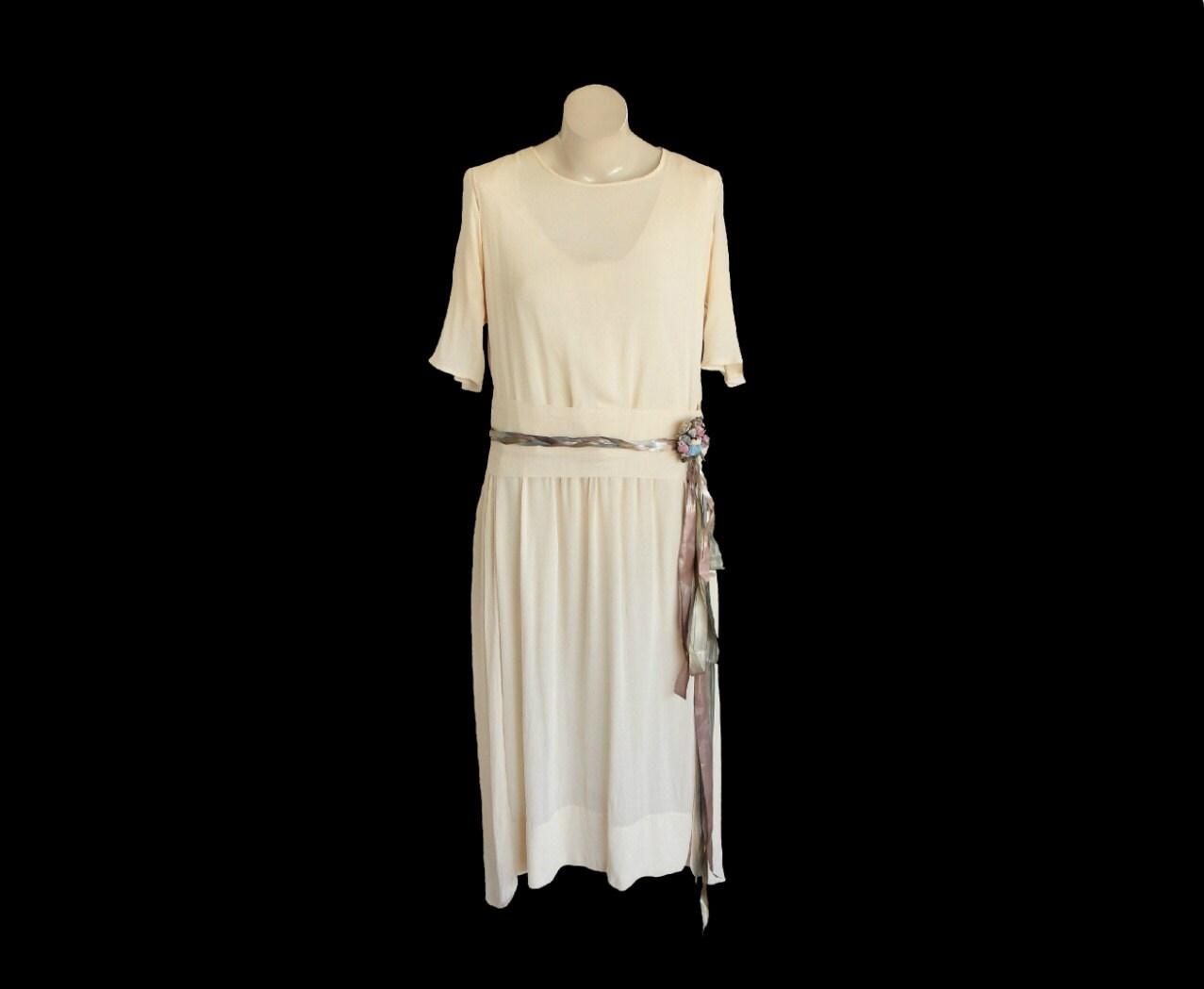 1920s Wedding Dress 20s Flapper Gown Antique White