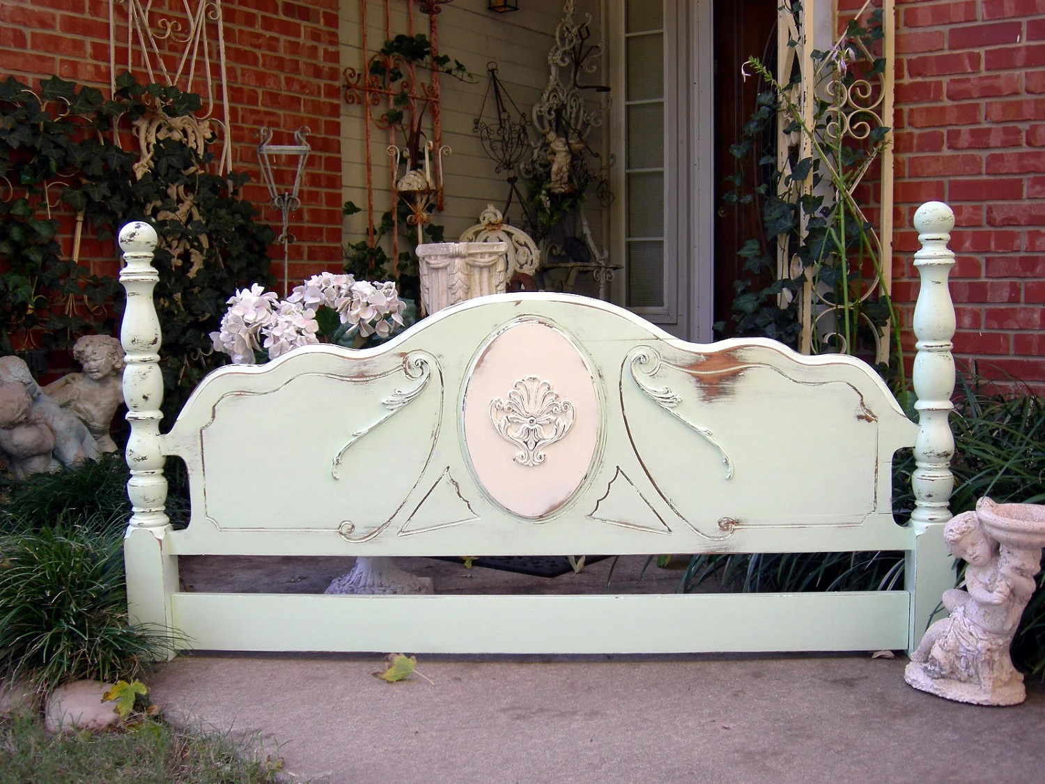 Antique HEADBOARD Queen Or Full Shabby Chic Distressed