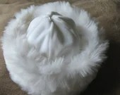 Reversible faux fur/ satin embroidered  childrens hat, available in pink or white