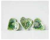Valentine's Day hearts - decorative ceramic heart set in pretty green * - thecupcakekid