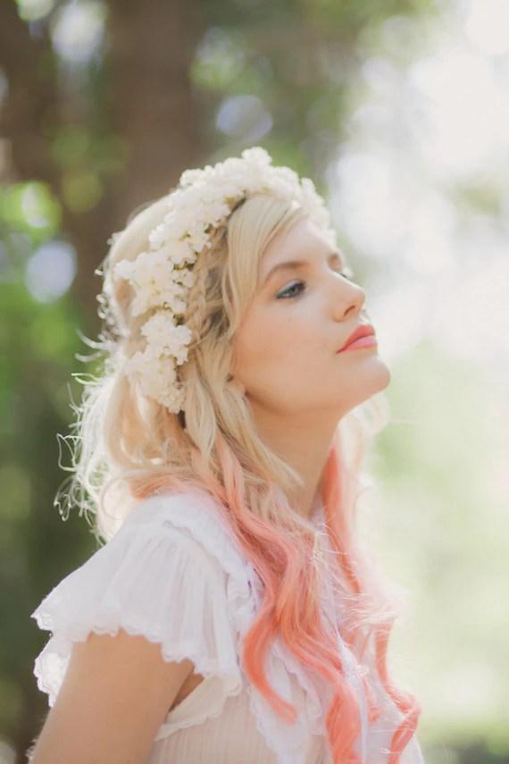 Ivory Flower Crown Bridal Floral Hair Wreath Boho Wedding