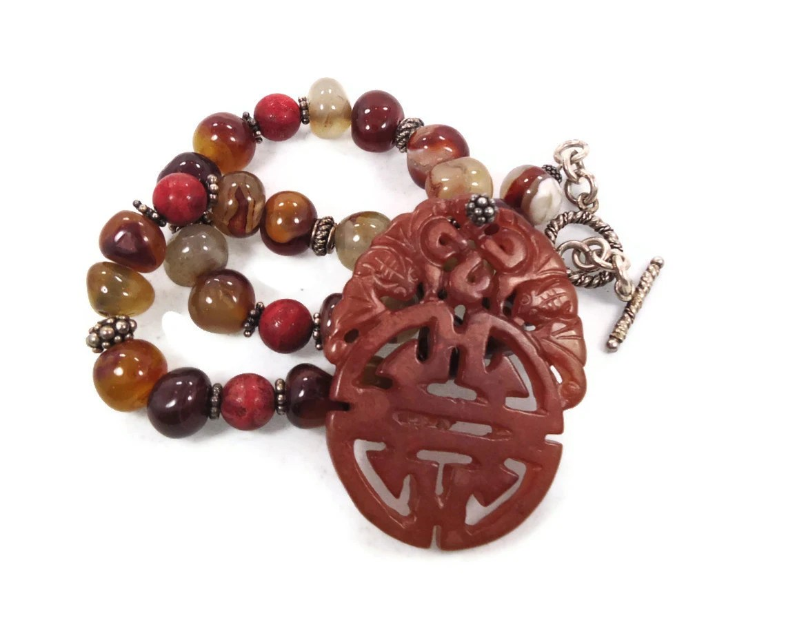 Carved Orange Jade Pendant & Stone Necklace - Big Oriental Statement Beaded Agate Coral  - InVintageHeaven - InVintageHeaven
