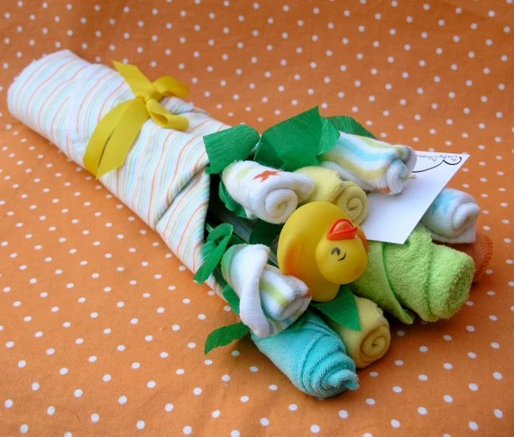 Made to Order: Baby Bouquet Pregnant Wife Gift, Layette Baby Blossom Gift Basket with Washcloths, Socks, Blanket and Rubber Duck