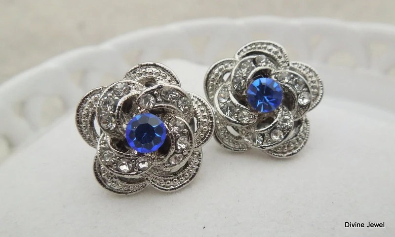 Bridal Earrings,Stud Earrings,Bridal Rhinestone Earrings,Rhinestone Earrings,Wedding Rhinestone Earrings,Something Blue Earrings, ROSELANI