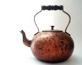 Decorative Copper Teapot , Vintage Collectible Metal Kettle, Rustic Kitchen Decor - vintagebiffann