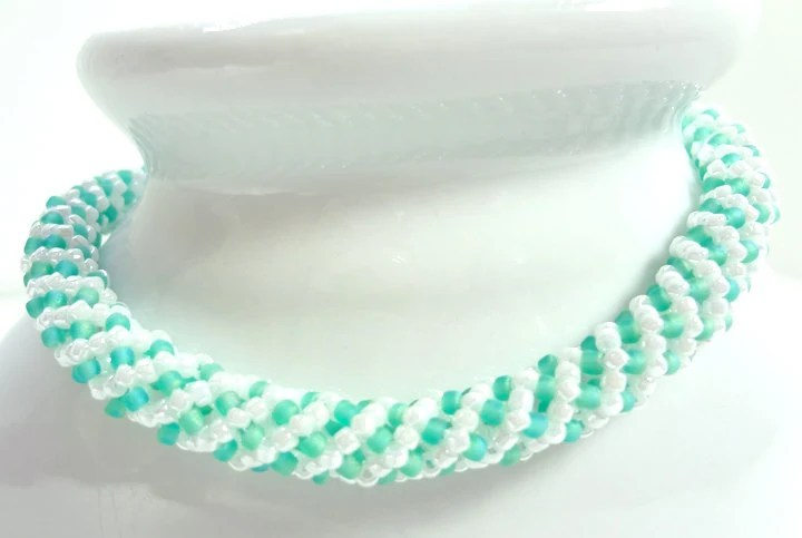 Mint Green and White Spiral Beaded Bangle Bracelet - MegansBeadedDesigns