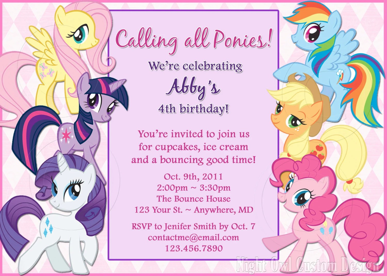 little pony birthday invitation templates