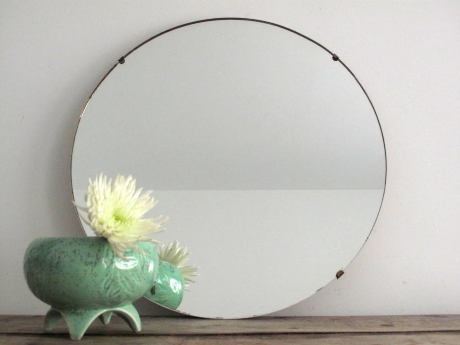 RESERVED Vintage Wall Mirror Round Frameless By