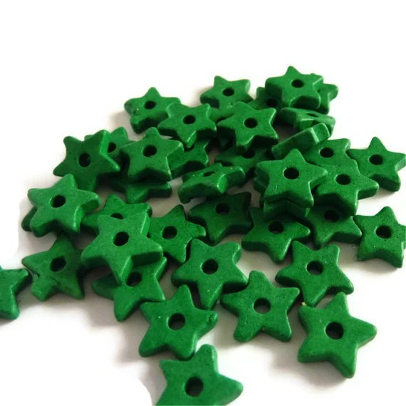 Green Ceramic Star Beads - 30 pcs C 10 062 - WISHsupplies