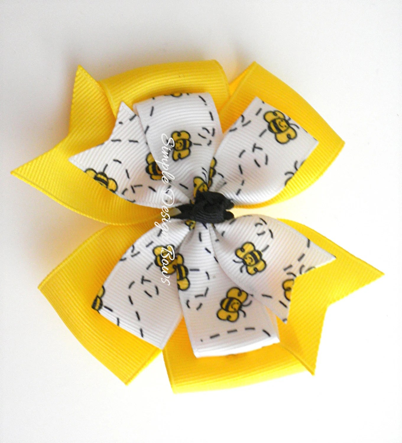 """Bumble Bee Hair Bow - Yellow and Black - 4"""" Large Double Layer Pinwheel - simpledesignbows"""