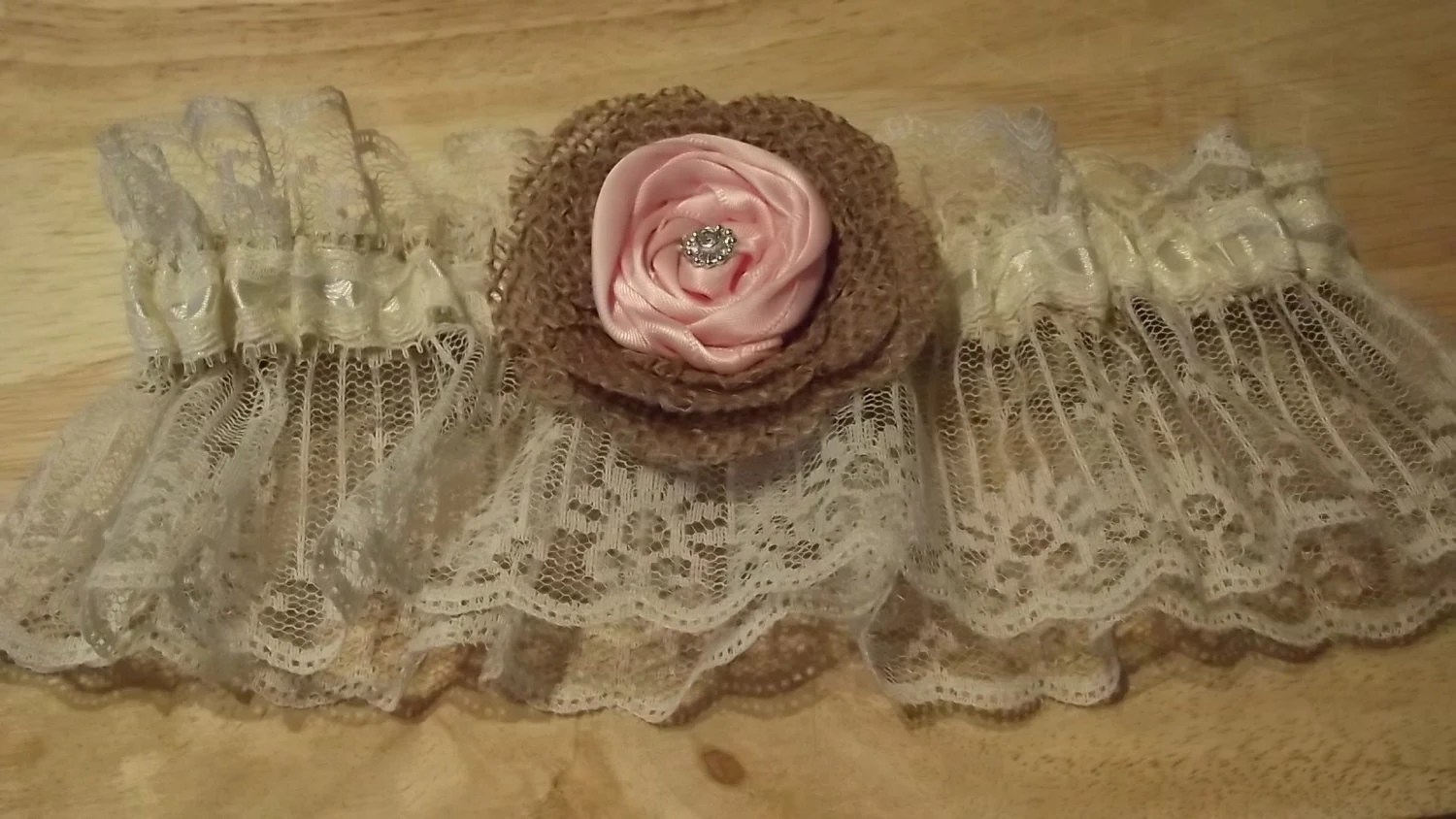 Country Lace Wedding Garter Pink Flower Burlap By