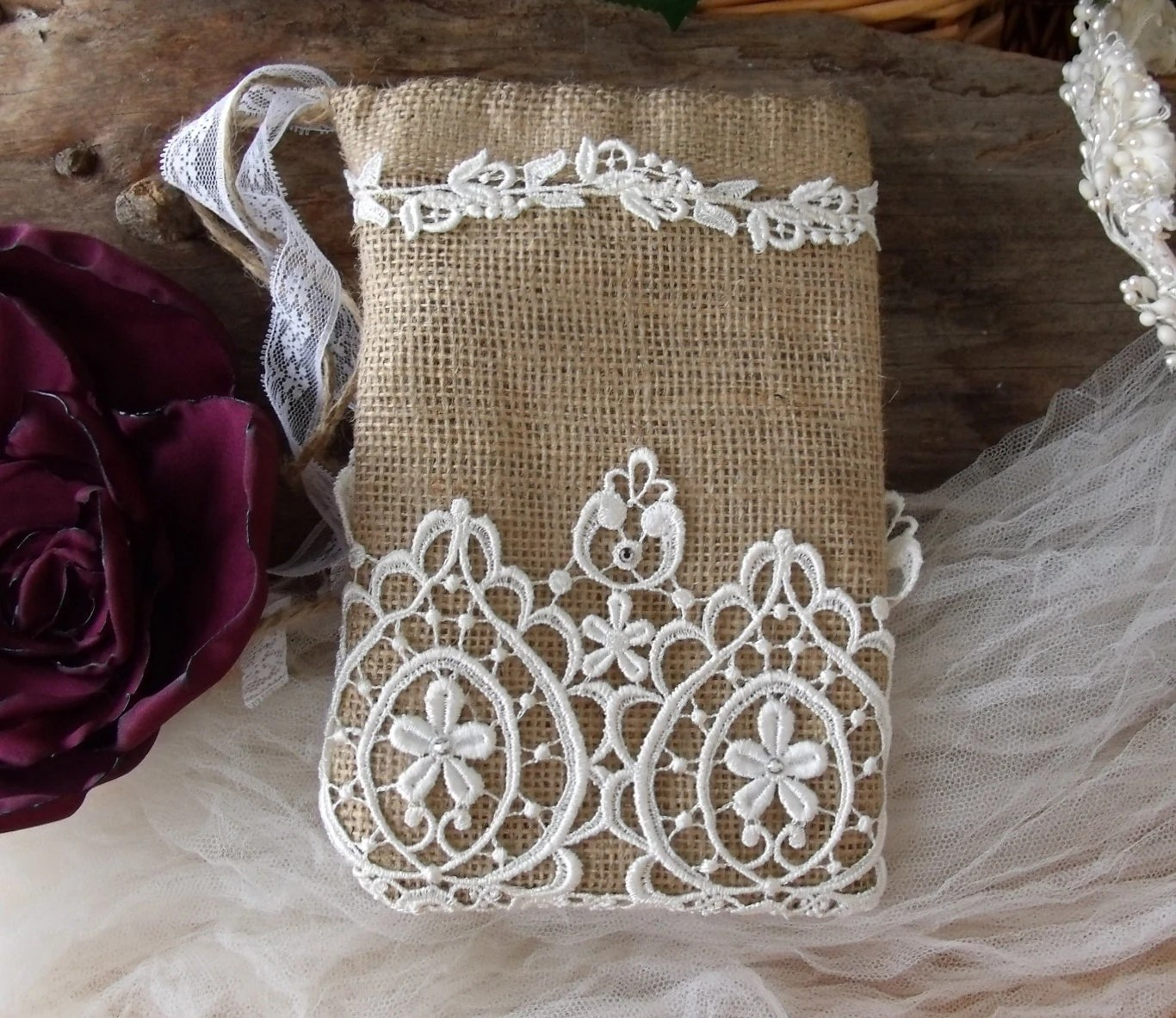 Handmade Bridal drawstring bag Natural burlap & Lace French Country Rustic Wedding dollar dance bag Swarovski Crystals Venice Lace - MilliesCorner