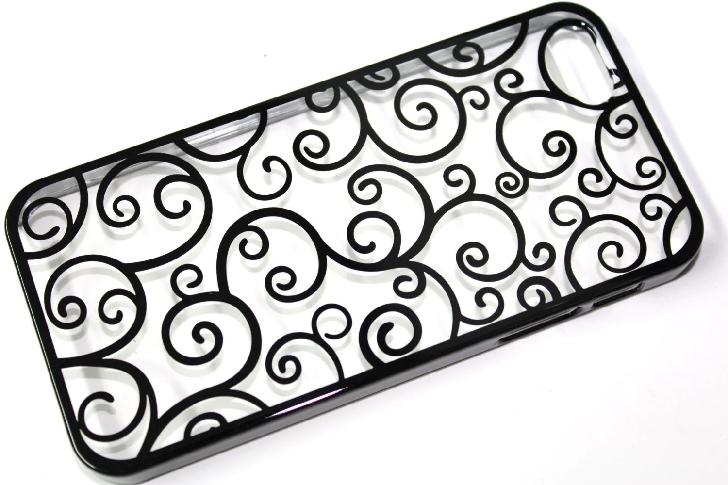 New Iphone 5 Case Transparent Cover With Black Floral Pattern