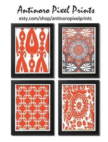 Coral Greys Ikat Prints Vintage Modern Art Print  - Set of Four 8x11 Unframed Art Print