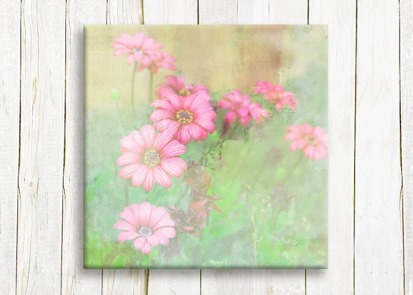 """Pink daisies,  Framed art, 12""""/12"""", free shipping - OneDesign4U"""