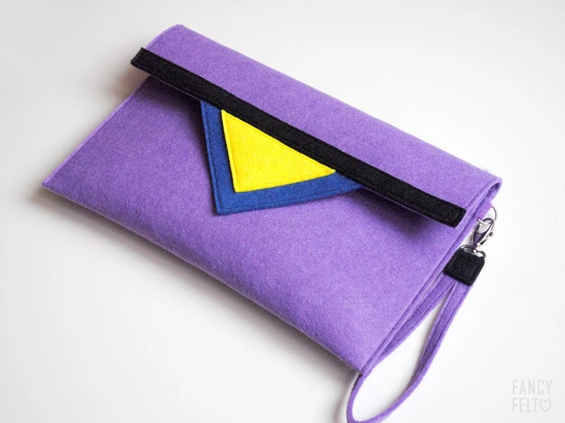 SALE 20%OFF Geometric purple navy blue black yellow felt clutch bag - FancyfeltShop