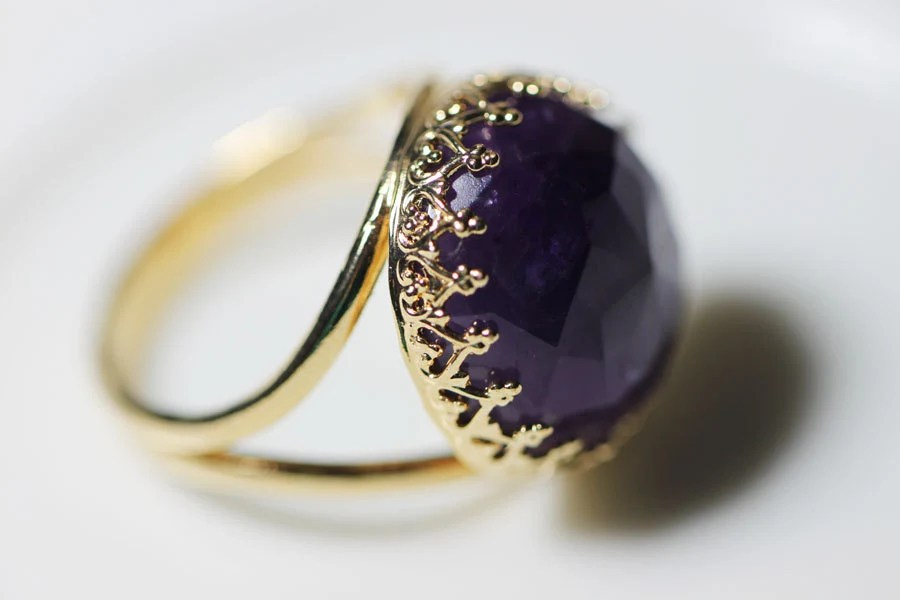 Amethyst Ring. Purple Ring. Golden Ring with Amethyst. Gemstone Amethyst Purple Ring. February Birthstone
