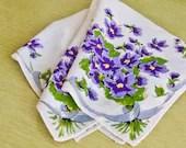VINTAGE Purple Pansy Flower Blue Ribbon Hanky Handkerchief - TridentTrue
